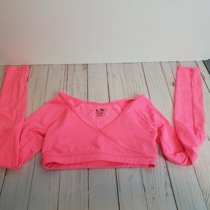 CHAMPION Neon Pink Cropped Mock Wrap Dance Top NEW